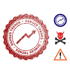 danger trends stamp with dirty texture vector image