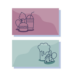 delicious ice cream with set food character vector image