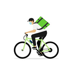 deliveryman rides on bike isolated vector image
