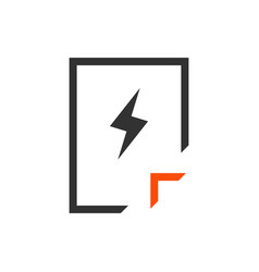 document icon with lightning in trendy flat style vector image