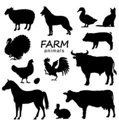 farm animals set black silhouette isolated on vector image