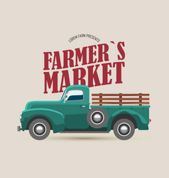 Farmers market logo with retro truck vector