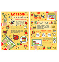 fast food delivery service banners vector image