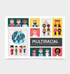 flat multiracial people infographic concept vector image