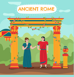 Flat roman couple background vector