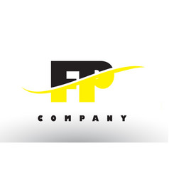 fp f p black and yellow letter logo with swoosh vector image
