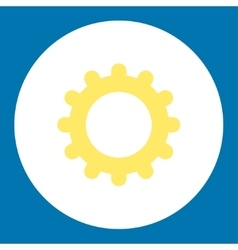 Gear flat yellow and white colors round button vector