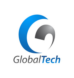 global technology initial letter g logo concept vector image