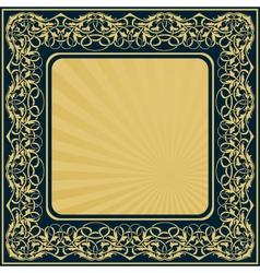 Gold frame with floral ornamental border vector