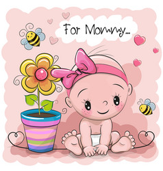 Greeting card baby with flower vector