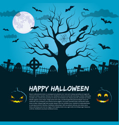Halloween poster with silhouette of dead tree vector