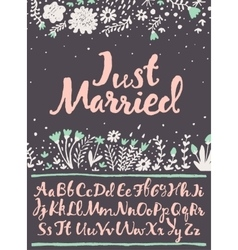 Hand draw calligraphic font floral wedding vector