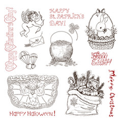 hand drawn vintage holidays set vector image