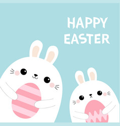 happy easter two rabbit bunny friends holding vector image