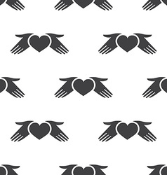 heart hands seamless pattern vector image