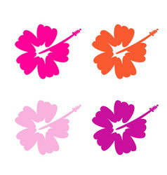 hibiscus flower set - surfing and tropical symbol vector image