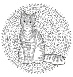 High detail patterned cat vector image