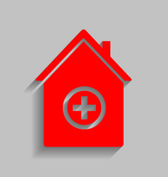 hospital sign red icon with vector image