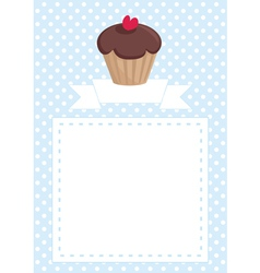 Invitation card with cupcake and polka dots vector