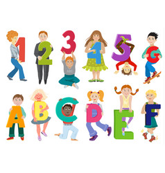 kids alphabet children with cartoon font vector image