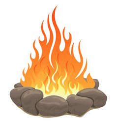 Large bonfire surrounded by stones vector