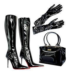 leather latex bag boots elegant fashion vector image