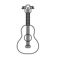 Line acoustic guitar instrument to play vector