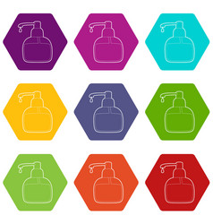 liquid soap icons set 9 vector image