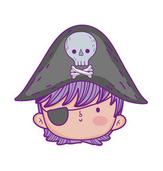 little pirate head fairytale character vector image