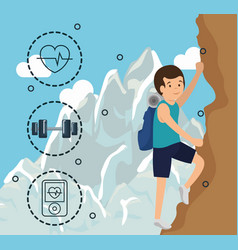 man climbing with sports icons vector image