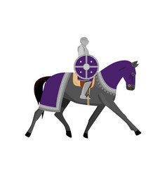 medieval knight in metal armor with round violet vector image