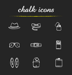 mens accessories chalk icons set vector image