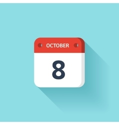 October 8 Isometric Calendar Icon With Shadow vector