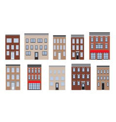 old houses set flat lay vector image