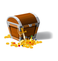 old pirate chest full of treasures gold coins vector image