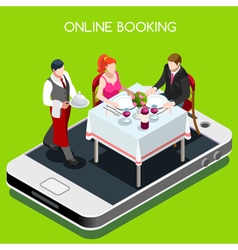 Online Booking Isometric People vector image
