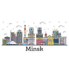 outline minsk belarus city skyline with color vector image