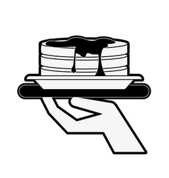 pancakes with waiter hand icon image vector image