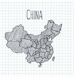 Pencil hand drawn China map on paper vector