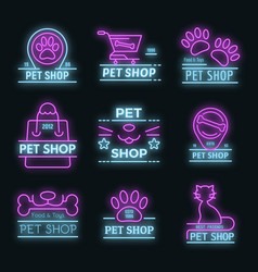 pet store icons set neon vector image