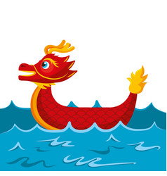 red dragon boat cartoon chinese in sea vector image