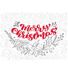 Red merry christmas calligraphy lettering vector