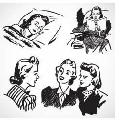 retro women at home vector image