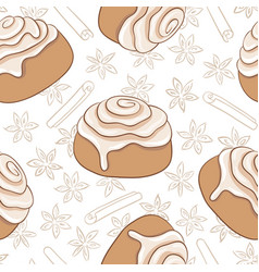 seamless pattern with cinnamon rolls and spice vector image