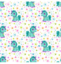 seamless pattern with cute cartoon little unicorn vector image
