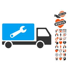 service car icon with love bonus vector image
