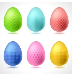 Set of 6 patterned Easter Eggs vector image