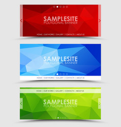 Set of geometric polygonal banner vector image