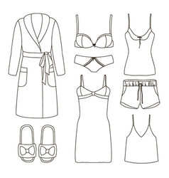set of womens homewear sleepwear and underwear vector image