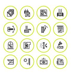 Set round icons of modern window vector